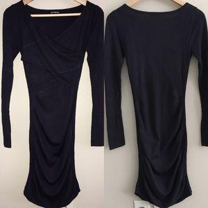 Express long sleeve dress — navy blue